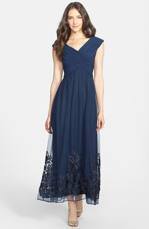 Patra Navy Blue Pleated Crisscross Bodice Mesh Skirt Soutache
