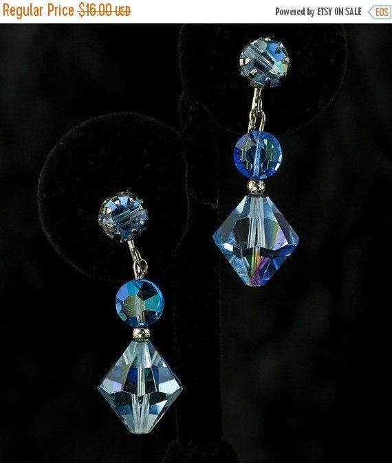 ON SALE BlueVintage Crystal Dangle Earrings by DianaKirkpatrickArt