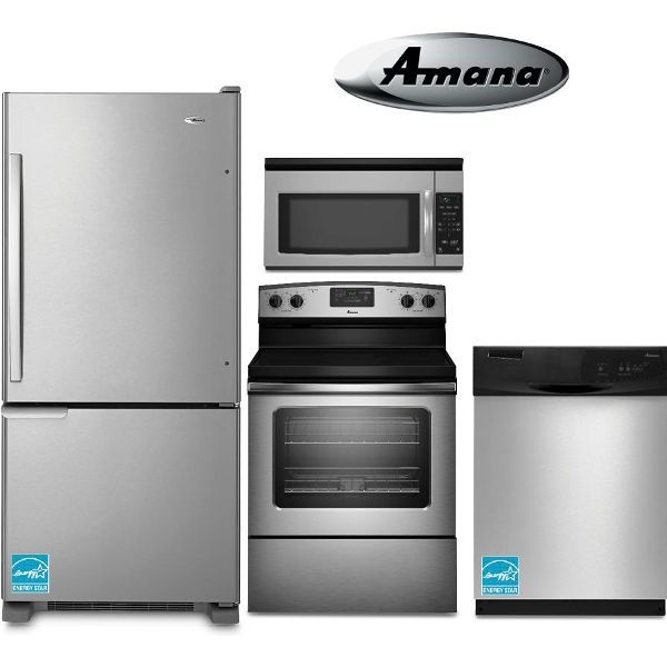 amana 4 piece electric stainless steel appliance package amana 4 piece electric stainless steel appliance package   kitchen      rh   pinterest com