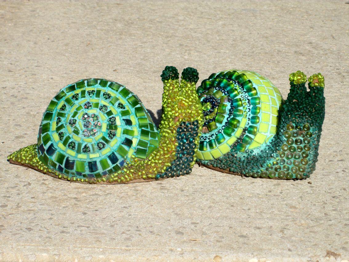 Green Mosaic Snails by Ayelet Bar - Work of Art https://www.facebook ...