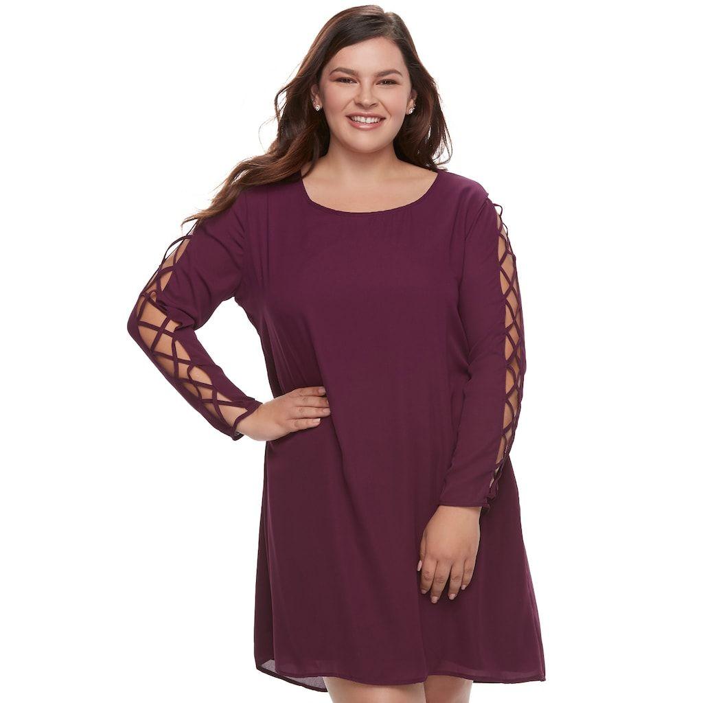 Juniors\' Plus Size Liberty Love Lace-Up Sleeve Shift Dress ...