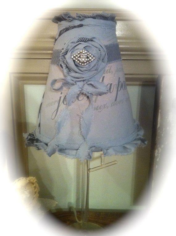 French Gray Blue lamp shade