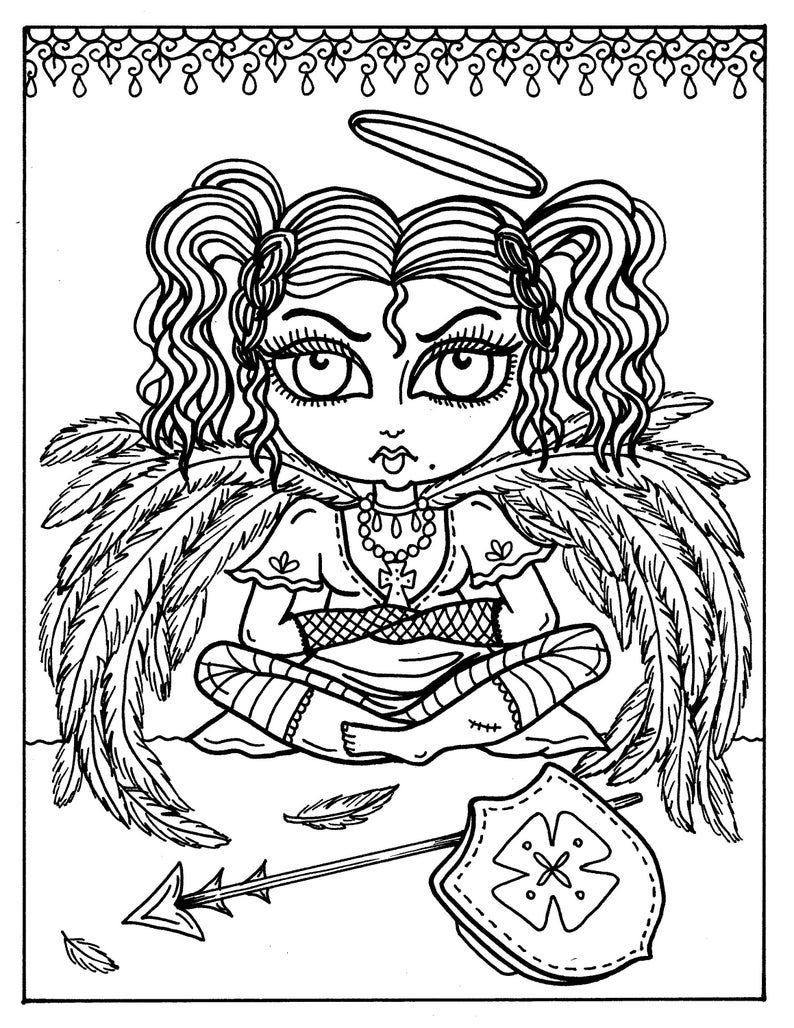 5 Pages Gothic Angels To Color Coloring Book Digital Etsy Coloring Books Cute Coloring Pages Gothic Angel