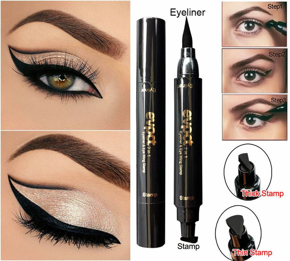 Objective New Sexy Waterproof Double Head Black Wing Shape Eyeliner Stamp Seal Eyeliner Pencil Cat Eye Cosmetic Makeup Tool Wing Style Eyeliner Beauty Essentials