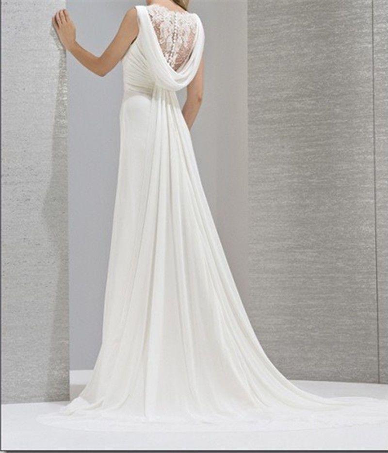 Neige dentelle mousseline de soie blanche robe de soir e for Robe maxi blanche mariage