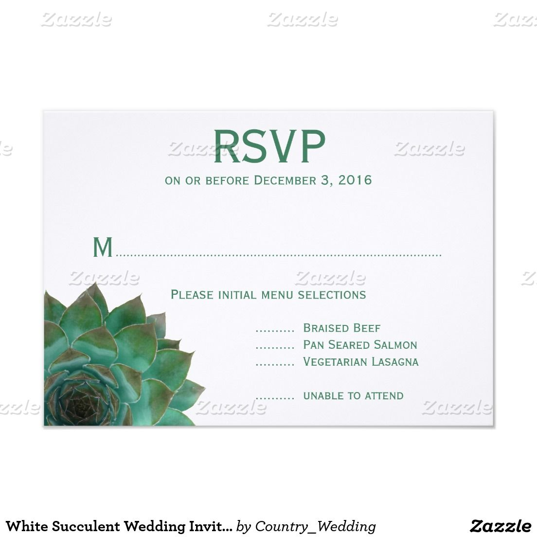 White Succulent Wedding Invitation Reply Cards | Succulent wedding ...