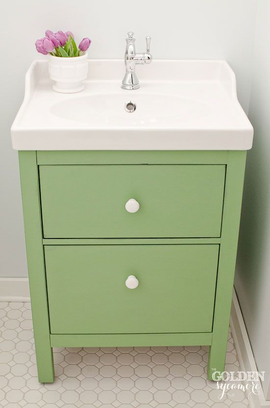 Green IKEA Custom Bathroom Vanity Custom Mixed Chalk Paint Color - Ikea 48 bathroom vanity