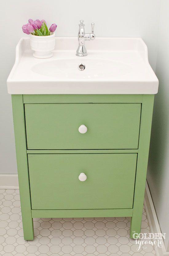 Green IKEA Custom Bathroom Vanity custom mixed Chalk Paint® color. Before  painting, I