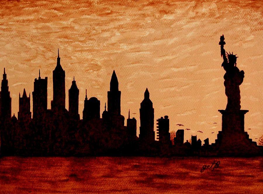 New York City Sunset Silhouette Painting Skyline Painting Silhouette Painting Sunset City