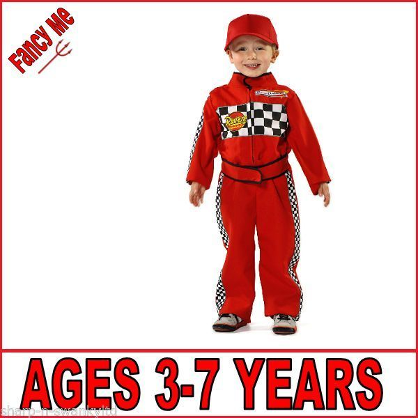Boys Red Racing Car F1 Driver Boiler Suit Overalls Fancy Dress Up Costume Outfit
