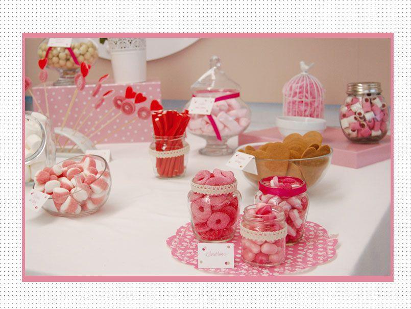 Candy bar en rosa y blanco para bodas bautizos y - Chuches para bautizo ...