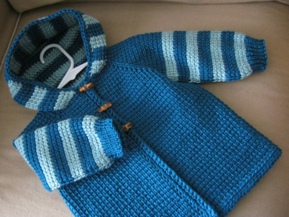 Baby Girl Sweater With Hood Crochet Dark Teal By Forbabycreations