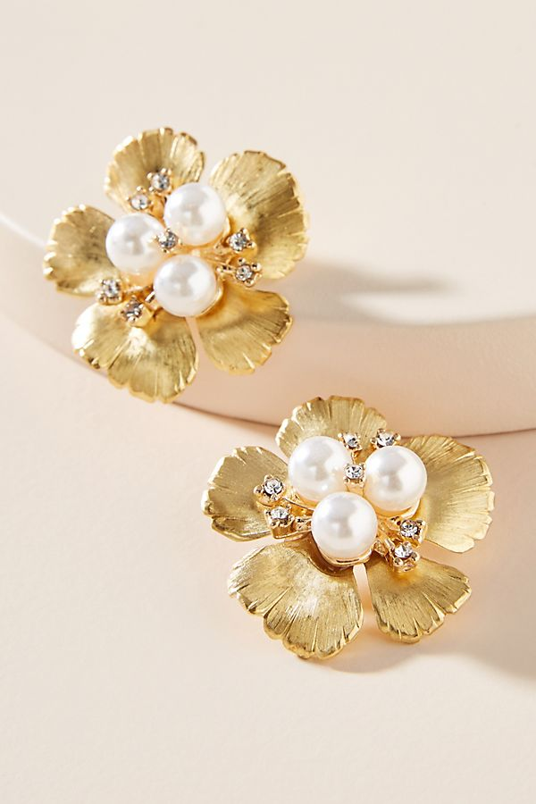 A Pair Of 14k Yellow Gold Pierced Earrings Hibiscus Flower Design 12mm Satin Polished Finish Faceted Round Diamonds T In 2020 Earrings Flower Earrings Yellow Gold