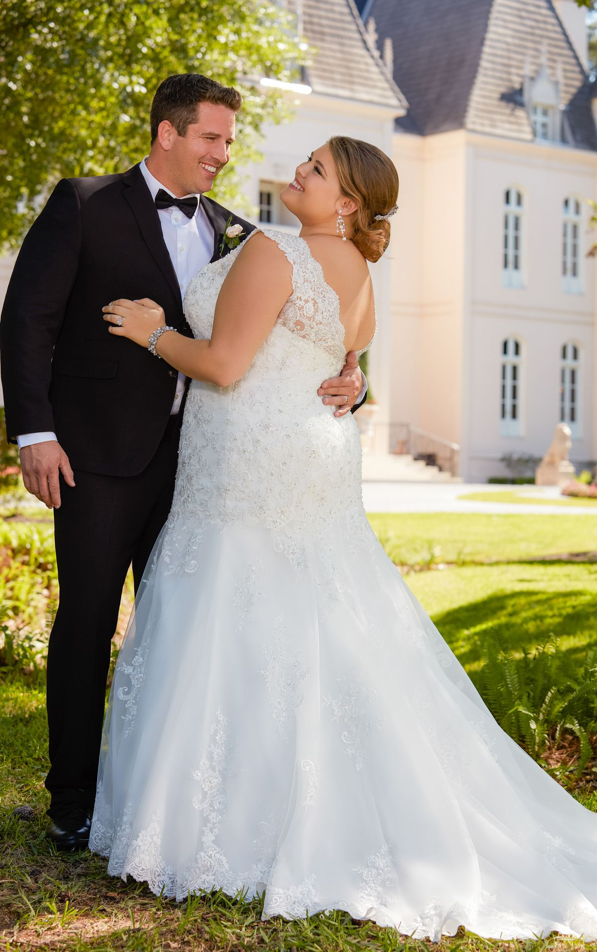 Lace fit and flare wedding gown with silver beading stella york