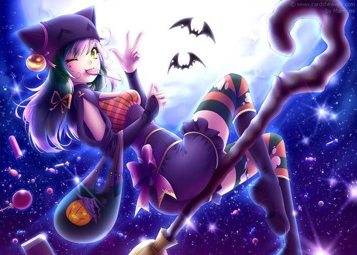 Cute Cartoon Witch Halloween Wallpaper Picture Anime