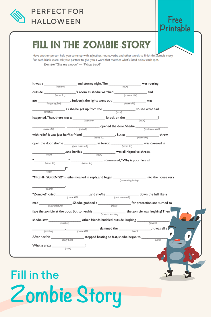 Get Ready For Halloween With This Funny Fill In The Blanks Zombie Story This Worksheet Writing Prompts For Kids English Worksheets For Kids Halloween Teaching [ 1102 x 735 Pixel ]