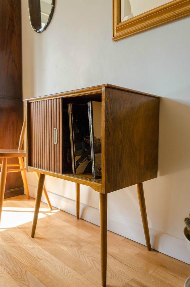 Vintage Mid Century Modern Teak Vinyl Record Storage Cabinet Sliding Doors 1950s & Vintage Mid Century Modern Teak Vinyl Record Storage Cabinet ... Pezcame.Com