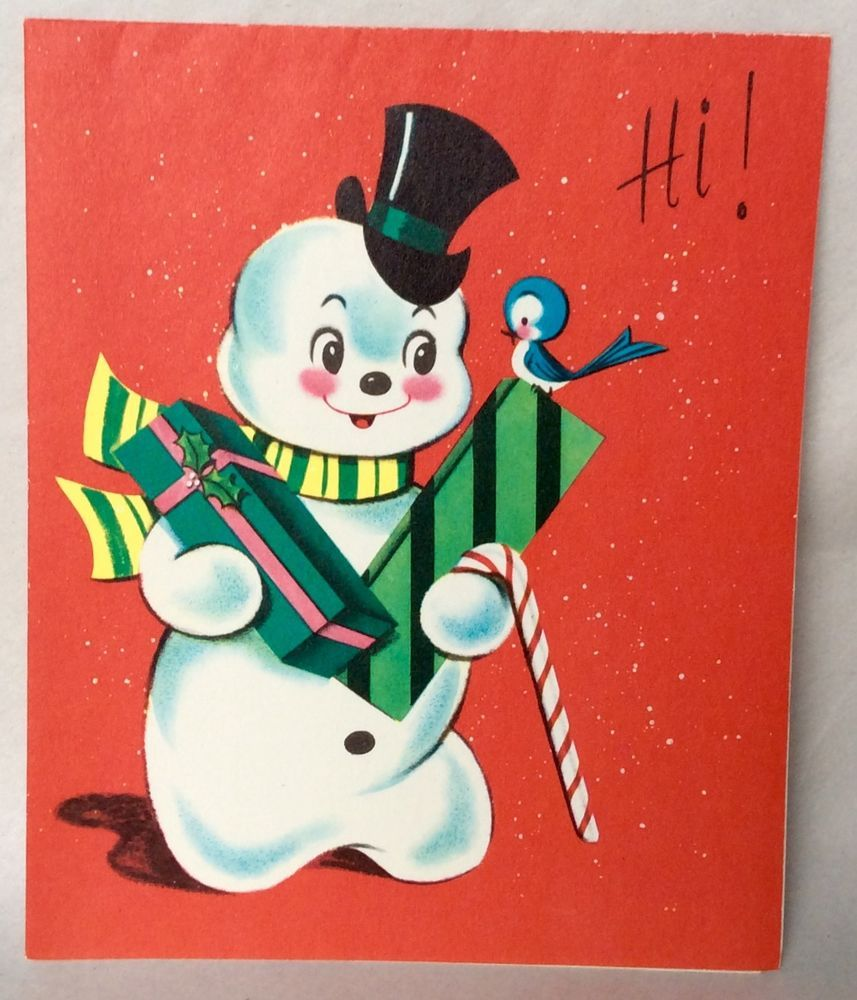 UNUSED Adorable Snowman Bluebird Presents 1950's Vintage Christmas Greeting Card