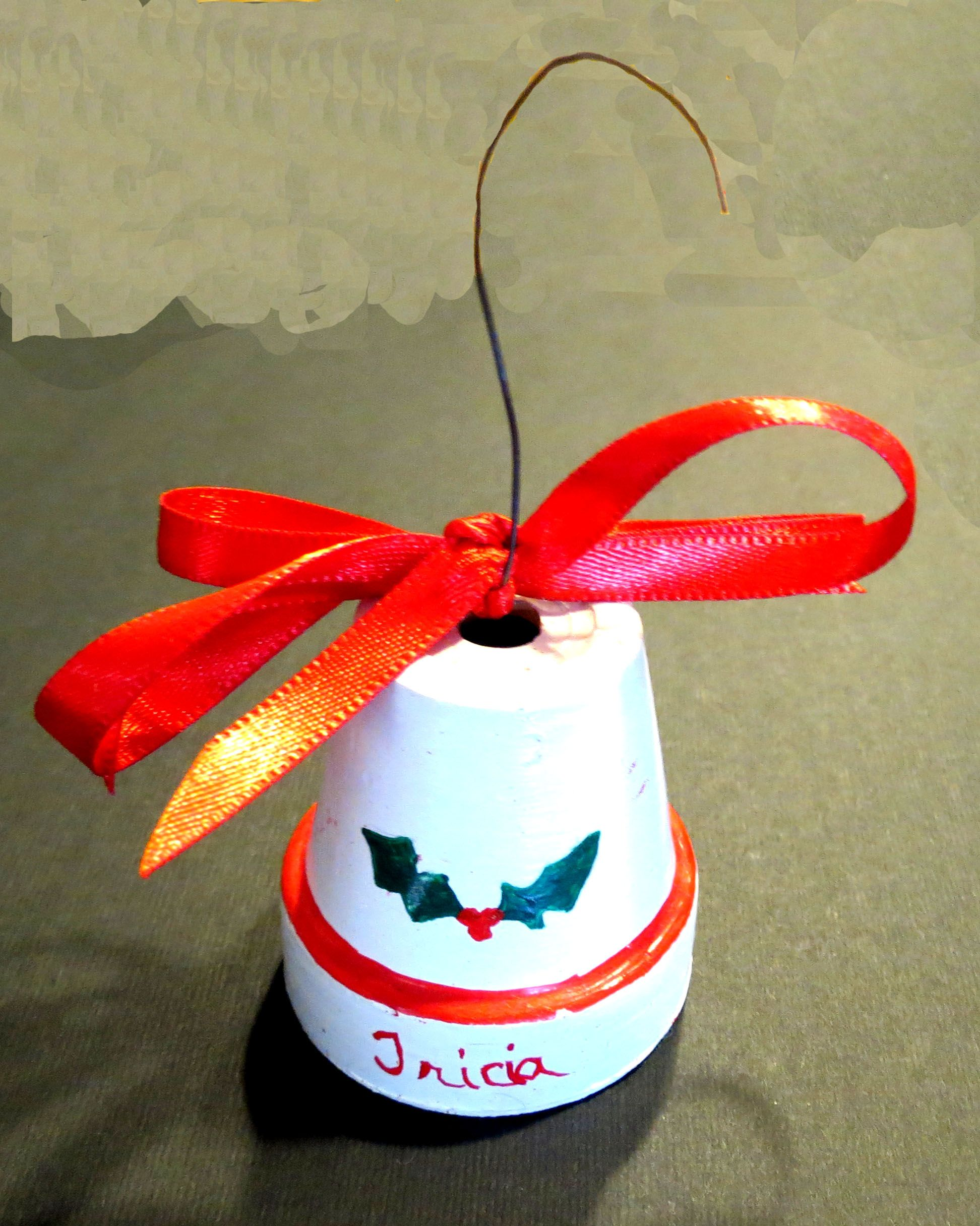 Clay Pot Christmas Bell Ornament