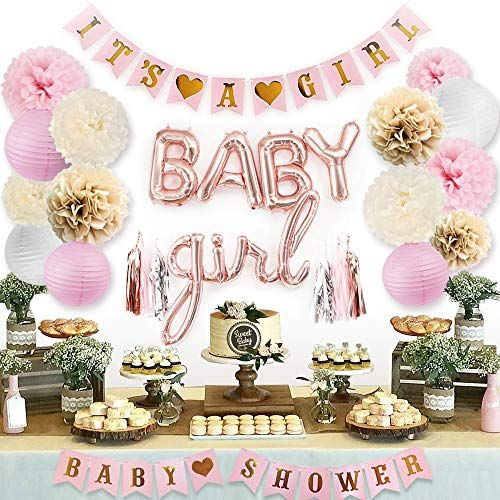 Sweet Baby Co Pink Baby Shower Decorations For Girl With Its A Girl Banner Baby Girl Fo