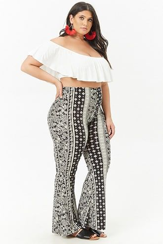 1906f69c5526c Plus Size Floral   Mosaic Flared Pants IM AT FOREVEER 21