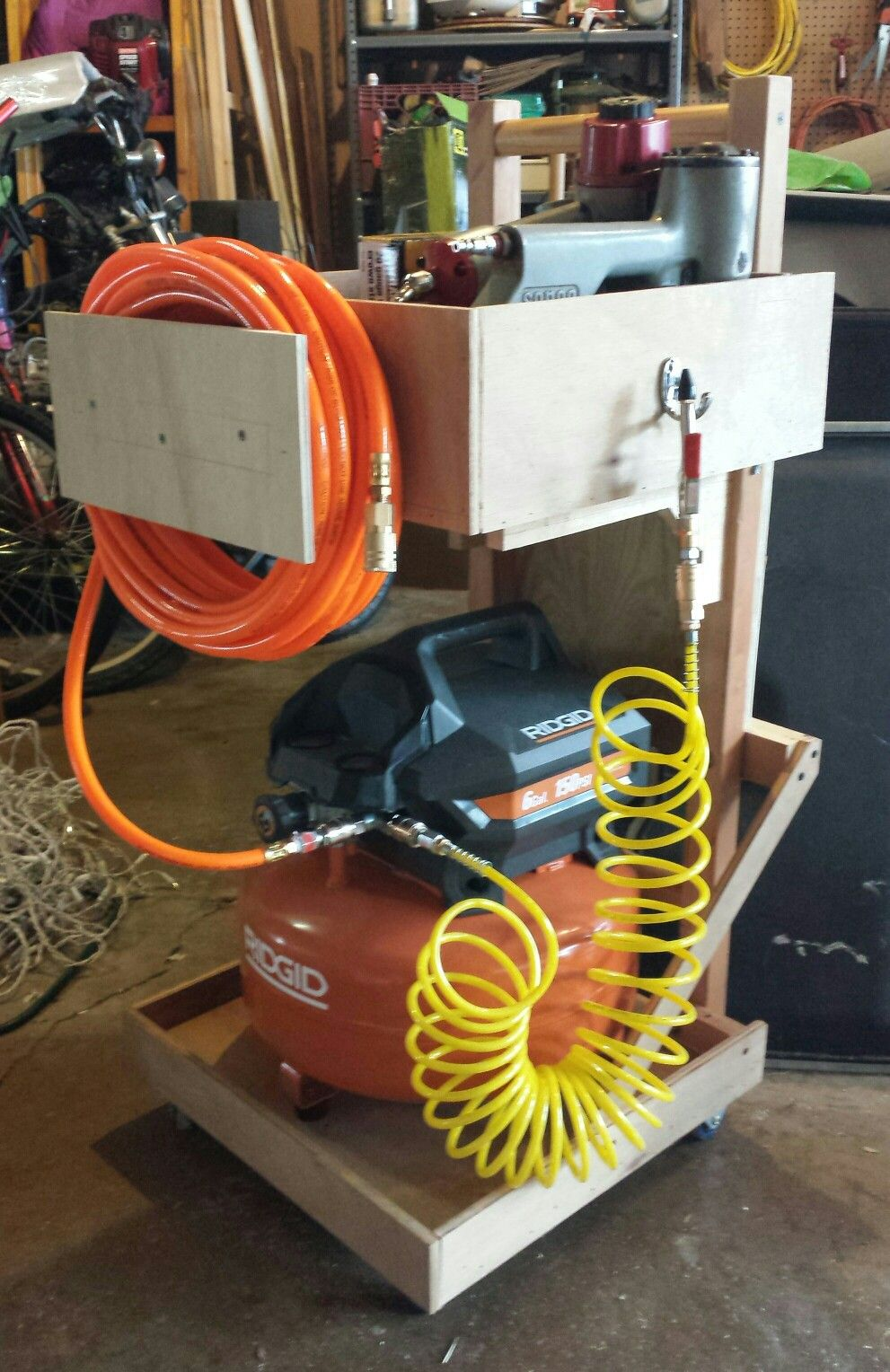 Build an air compressor cart out of spare lumber for less