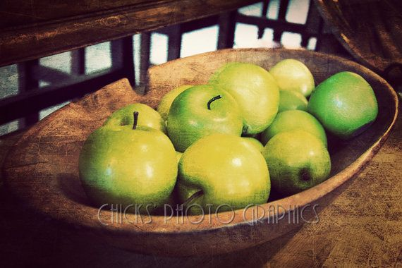 Green Apples Photo Print Wooden Bowl Rustic by ChicksPhotoGraphics