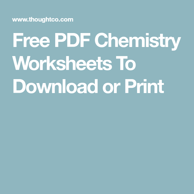 Free PDF Chemistry Worksheets To Download or Print | Chemistry ...