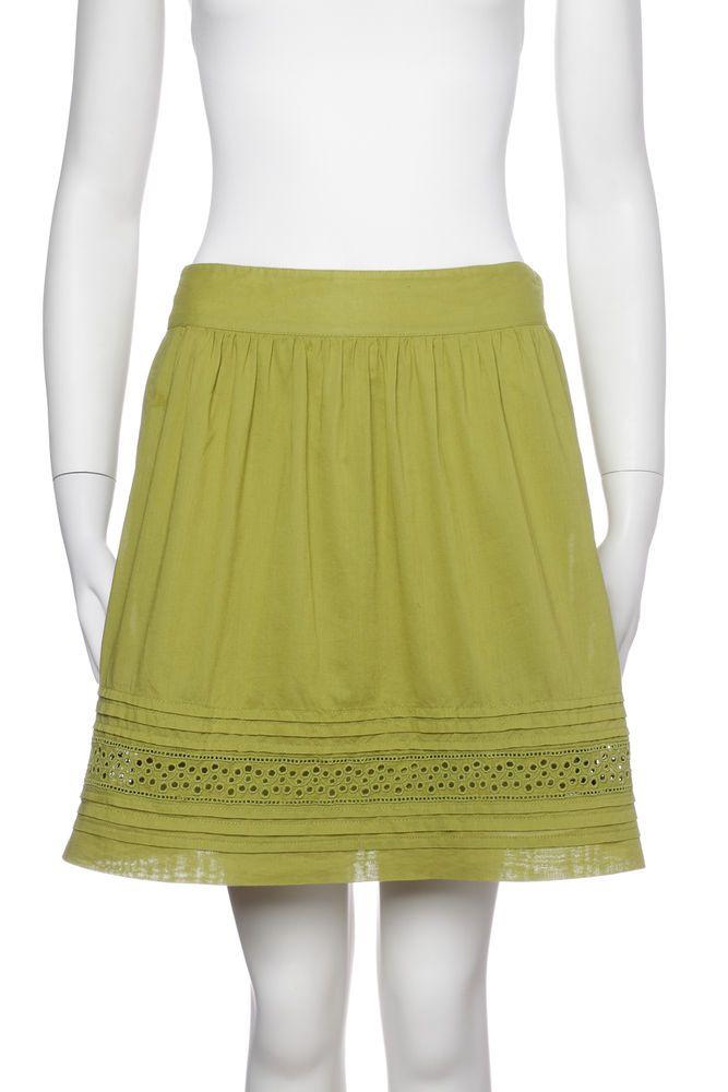 3be0fb49df Women's ANN TAYLOR LOFT Green Cotton Eyelet Skirt Size 0 Petite  #AnnTaylorLOFT #StraightPencil