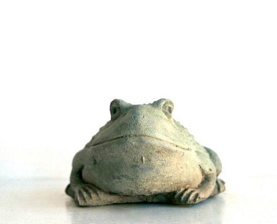 Reserved For Ivy Vintage Cement Frog Garden Ornament By 5gardenias