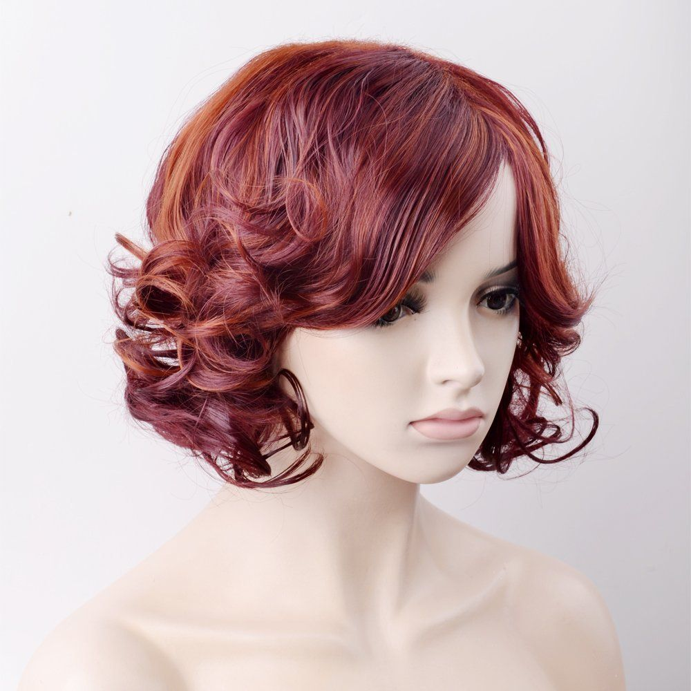 Amazon ouo hair wig womenus wig short hair curls mixed red