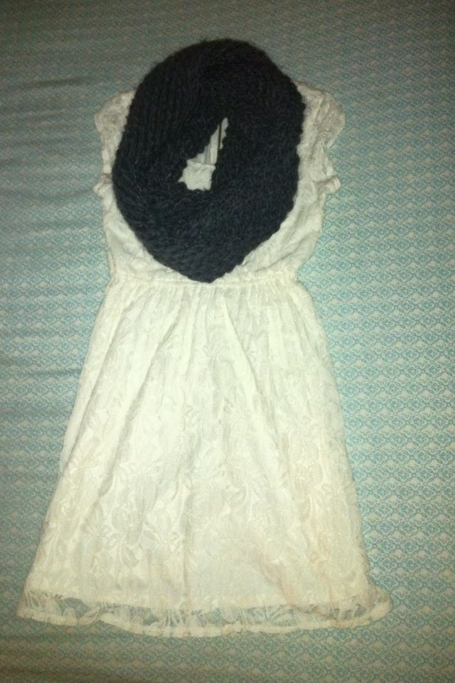 White Lace Dress with Grey knitted scarf!