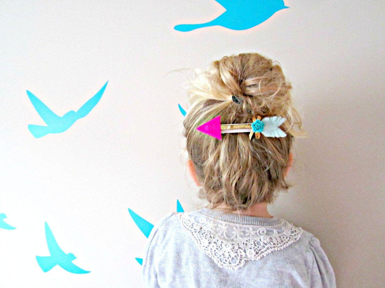 Arrow Hair Clip - Felt and Gold twig arrow, french barrette