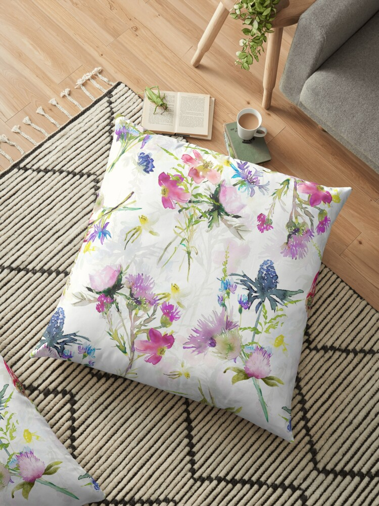 Hand Painted Watercolor Midsummer Wild Flowers Meadow Double Layer Floor Pillow Designed By Utart Adorable Ha In 2020 Floor Pillows Wild Flower Meadow Boho Pillows