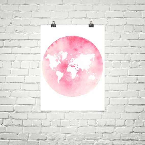 Pink world map wall art pink world map poster map art map of the pink world map wall art pink world map poster map art map gumiabroncs Gallery