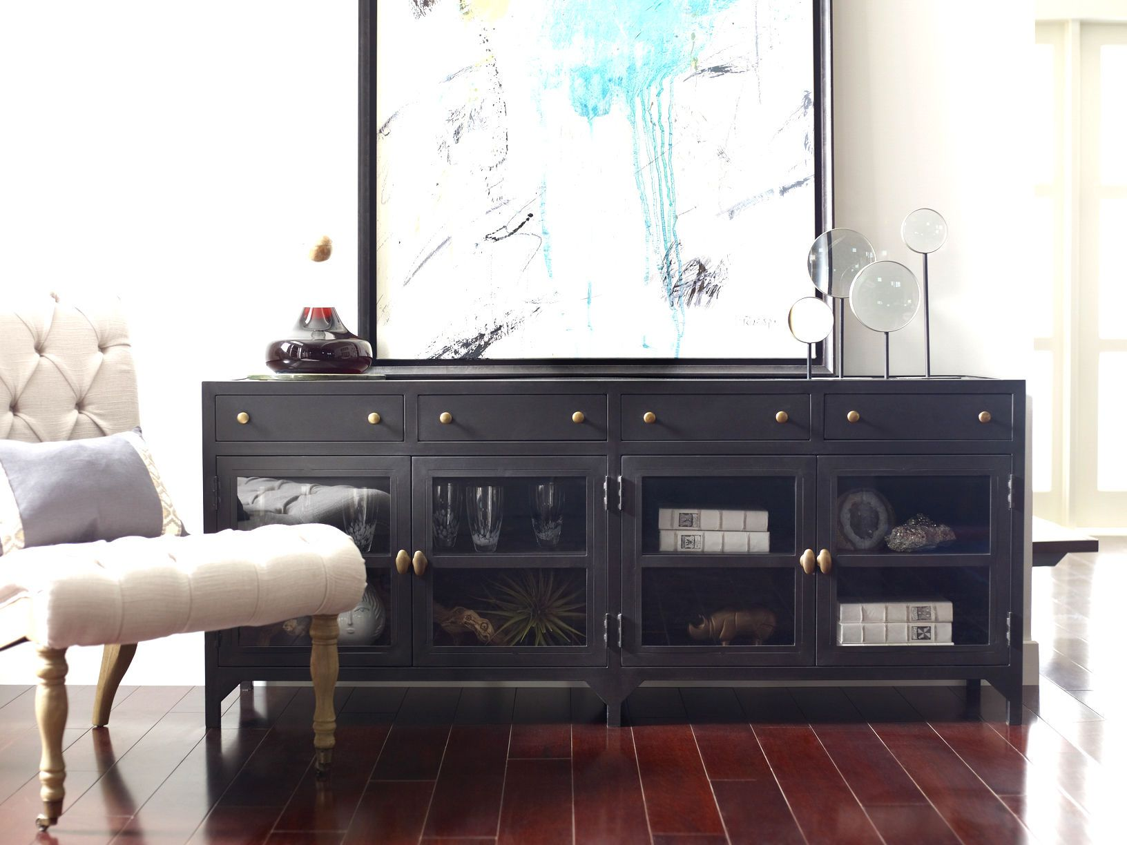 Shop Our Shadow Box Industrial Black Metal Media Console On Sale. This Media  Cabinet Feature Glass Doors, Brass Knobs And Drawers Part 74