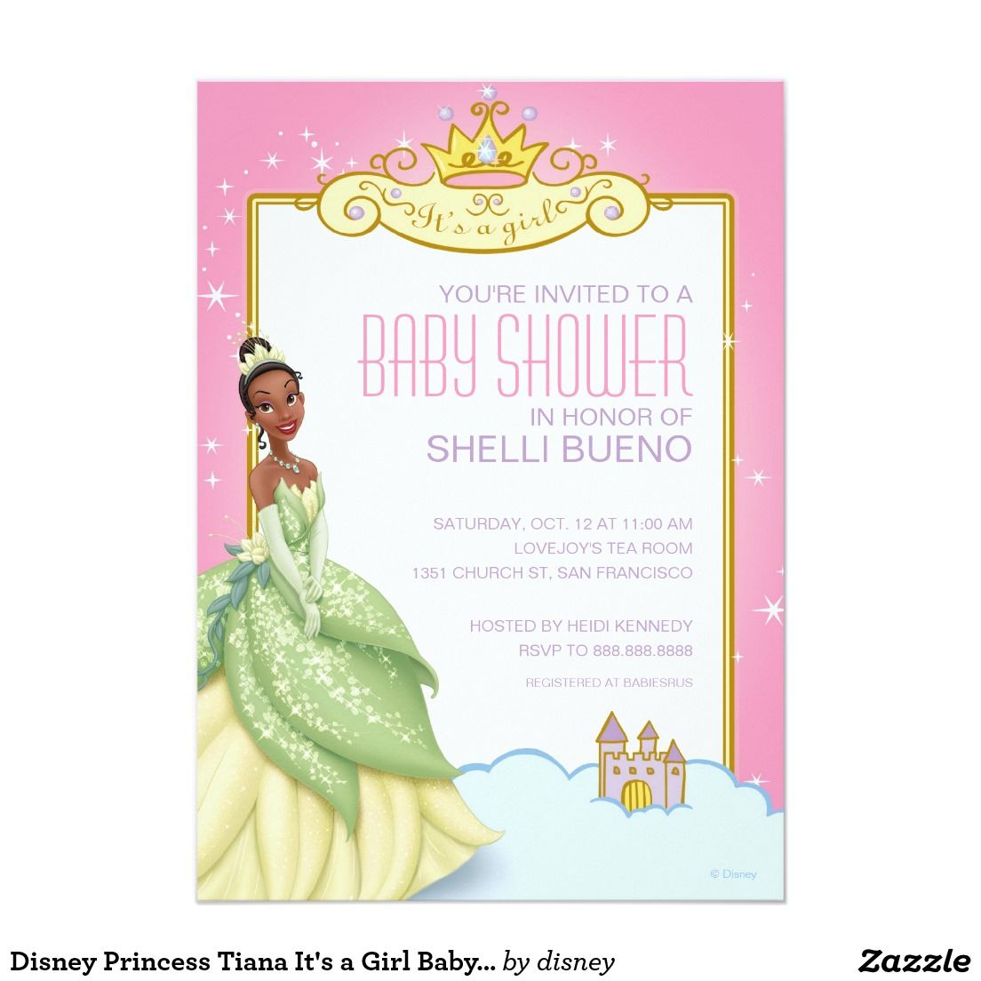 Disney Princess Tiana It\'s a Girl Baby Shower Card | Disney ...
