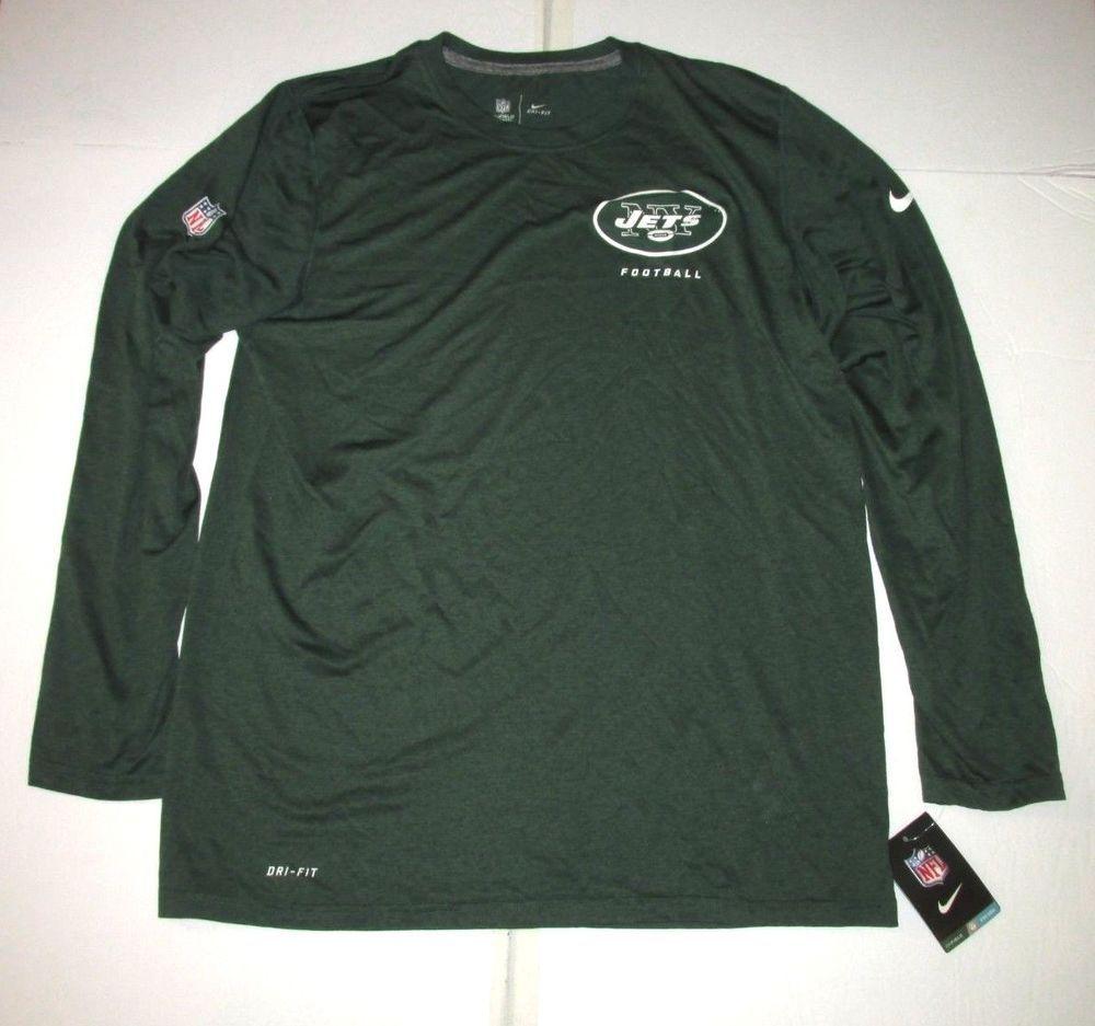 Nike New York Jets Football Dri-FIT Long Sleeve Shirt Mens L Green  Nike a9b25e18a
