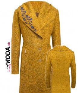 Žltý dámsky zimný kabát so šálovým límcom a ručne robenou aplikáciou. - trendymoda.sk