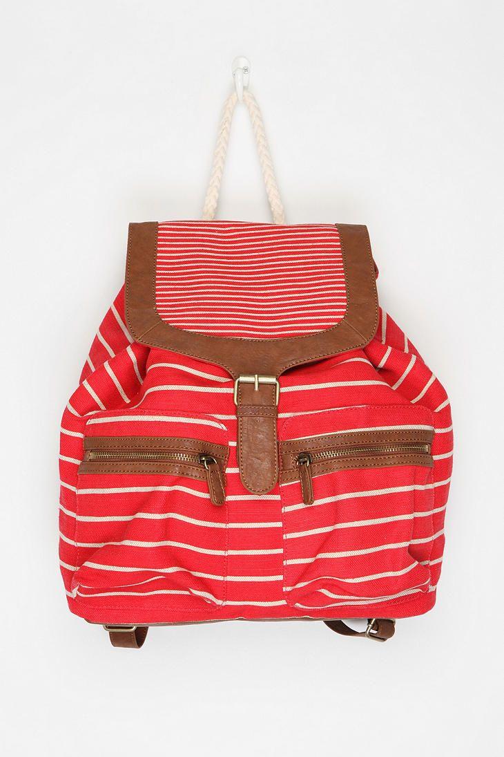 Canvas Striped Backpack - Baliva - balivabag.com a372e912bcdeb