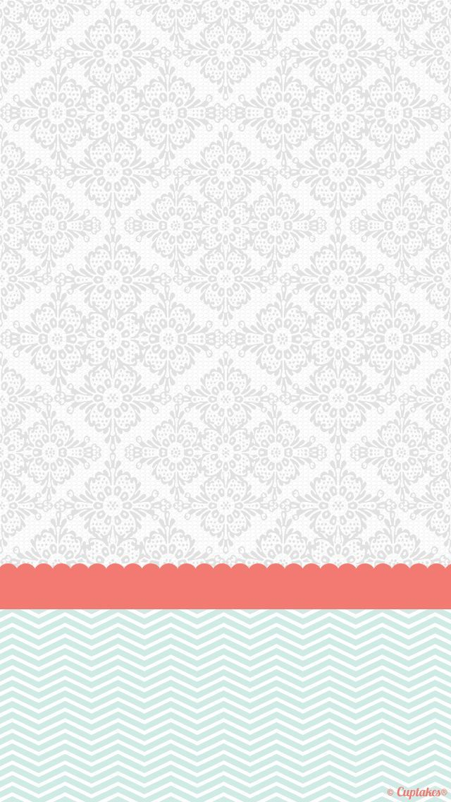 Grey Coral Mint Damask Chevron Iphone Phone Background Lock Screen Wallpaper