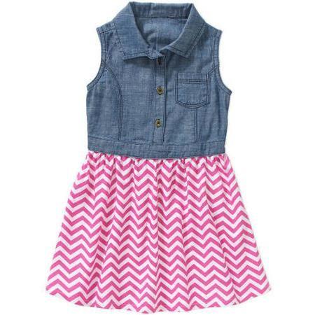 0cda2768e Healthtex Baby Toddler Girl Chambray 2fer Tank Dress - Walmart.com ...