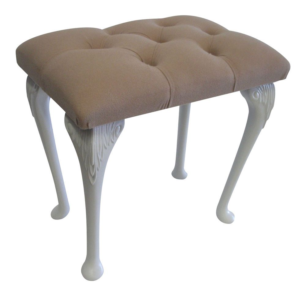 bedroom stools. Velour Button Top Dressing Table Bedroom Stool with White Queen Anne Style  Legs