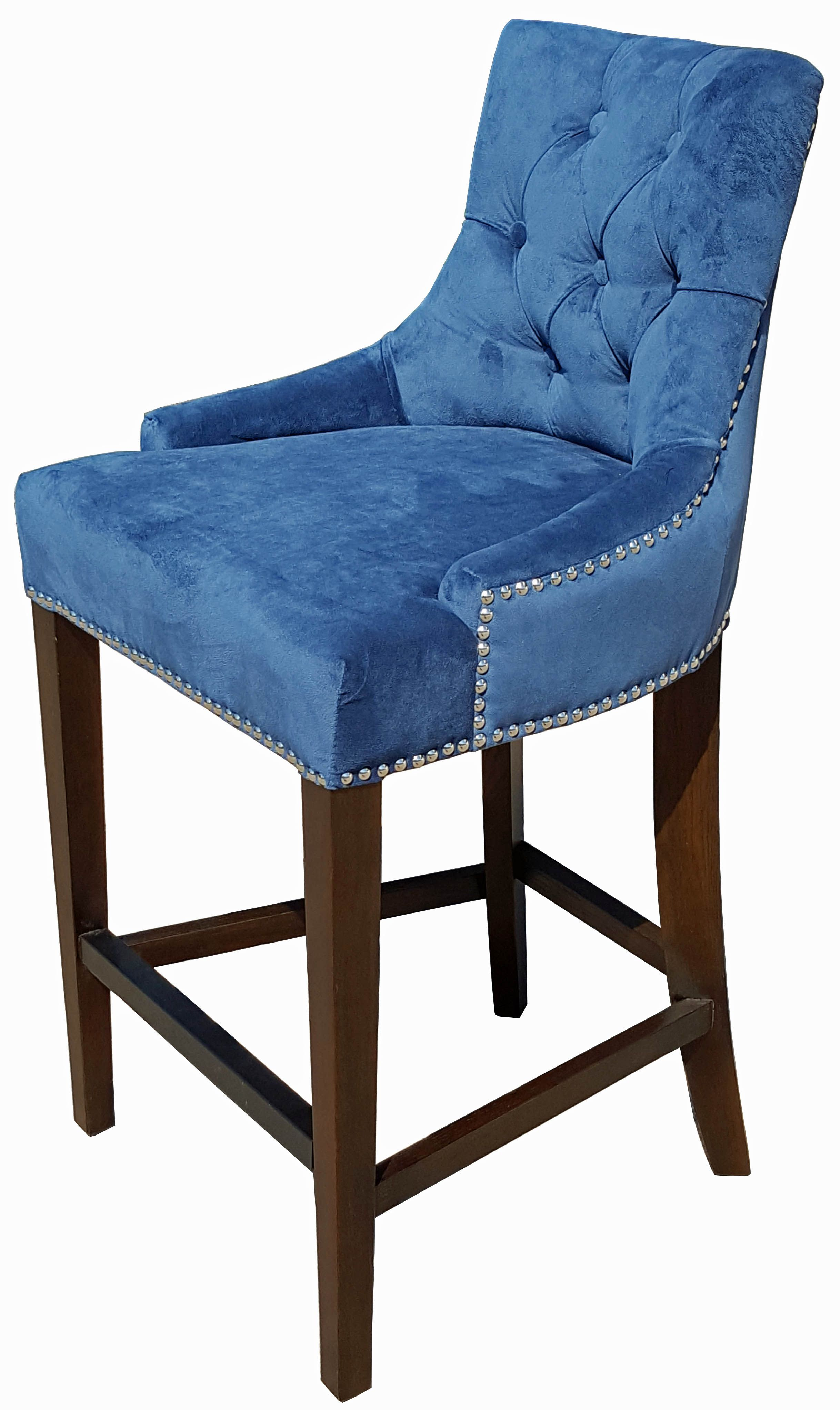 Blue Velvet Fabric Tufted Counter Stool w/Silver Nail Head Trim R ...