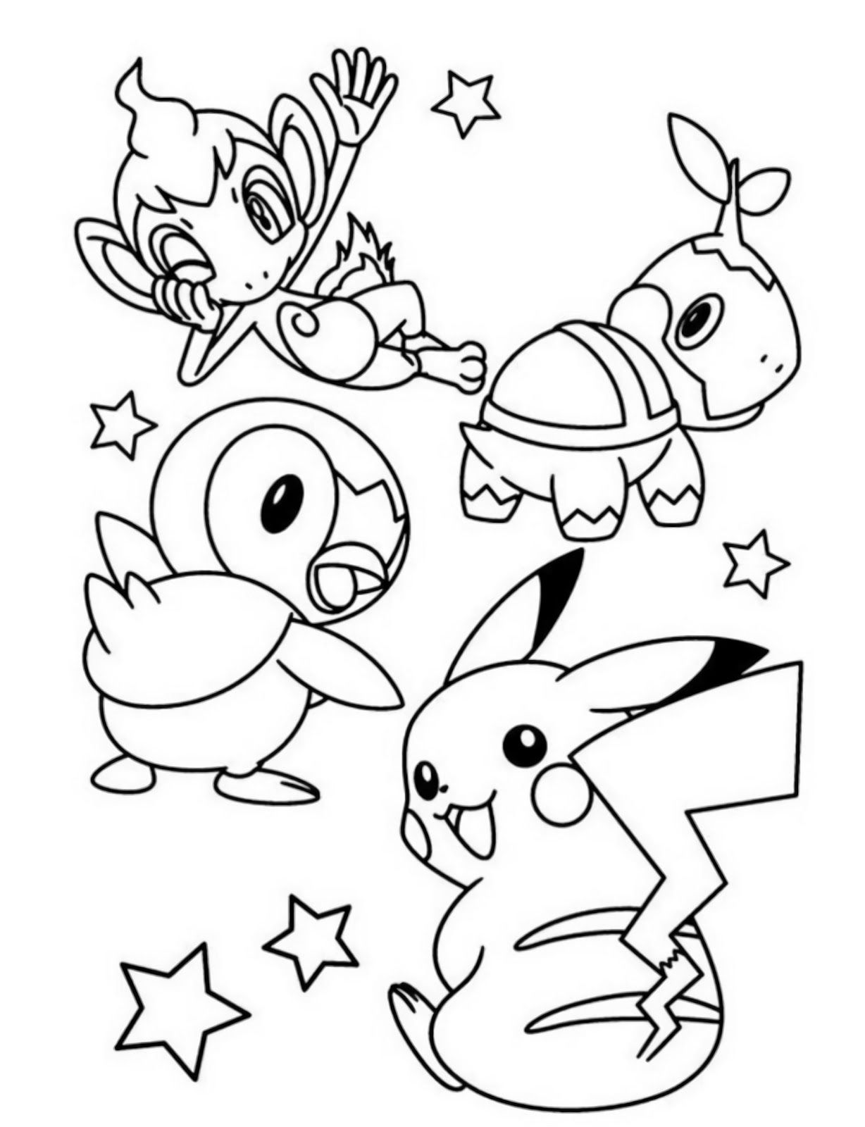 Starter Pokemon Turtwig Chimchar Piplup And Pikachu Coloring Pages Pikachu Coloring Page Pokemon Coloring Sheets Pokemon Coloring Pages