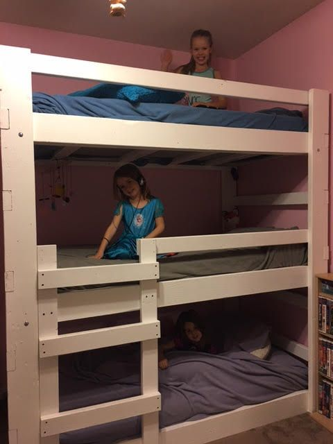 Heavy Duty Solid Wood Custom Made Triple Bunk Bed Twin Size Triple