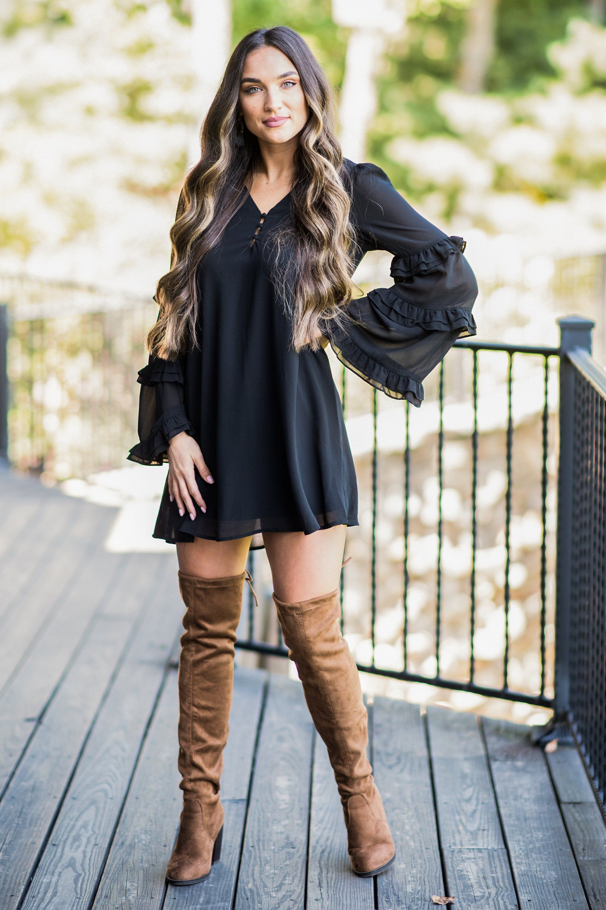 The Way You Move Black Ruffled Dress Fall Boots Outfit Dress With Boots Fashion [ 3000 x 2000 Pixel ]