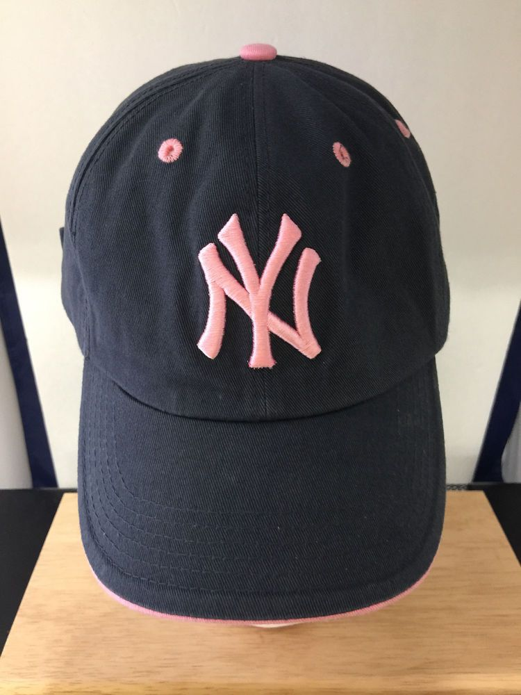 NEW YORK YANKEES WOMENS BASEBALL HAT CAP DISTRESSED NAVY BLUE AND PINK TRIM   47  47Twins  BaseballCap  YANKEES  NYYANKEESBASEBALLHAT  YANKKESGIRL b397e58f910