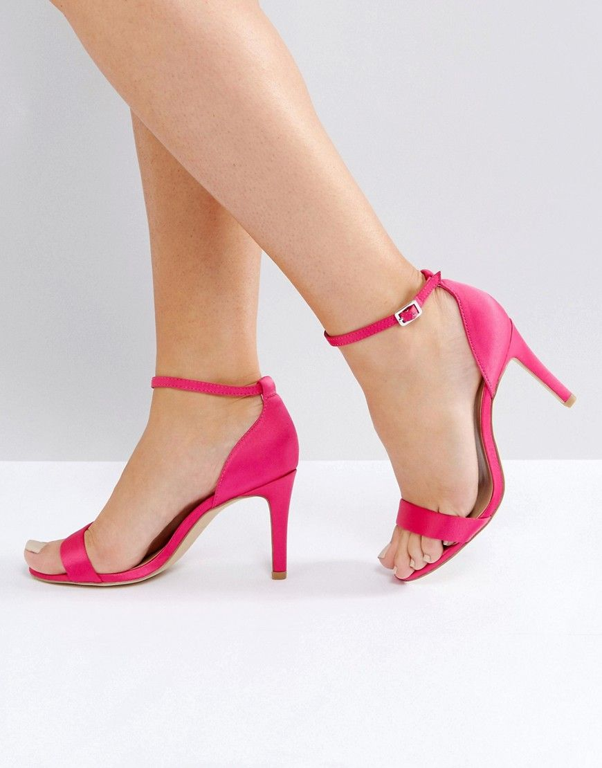 926fc5dc41 New Look Wide Fit Satin Barely There Heeled Sandal - Pink   Products ...