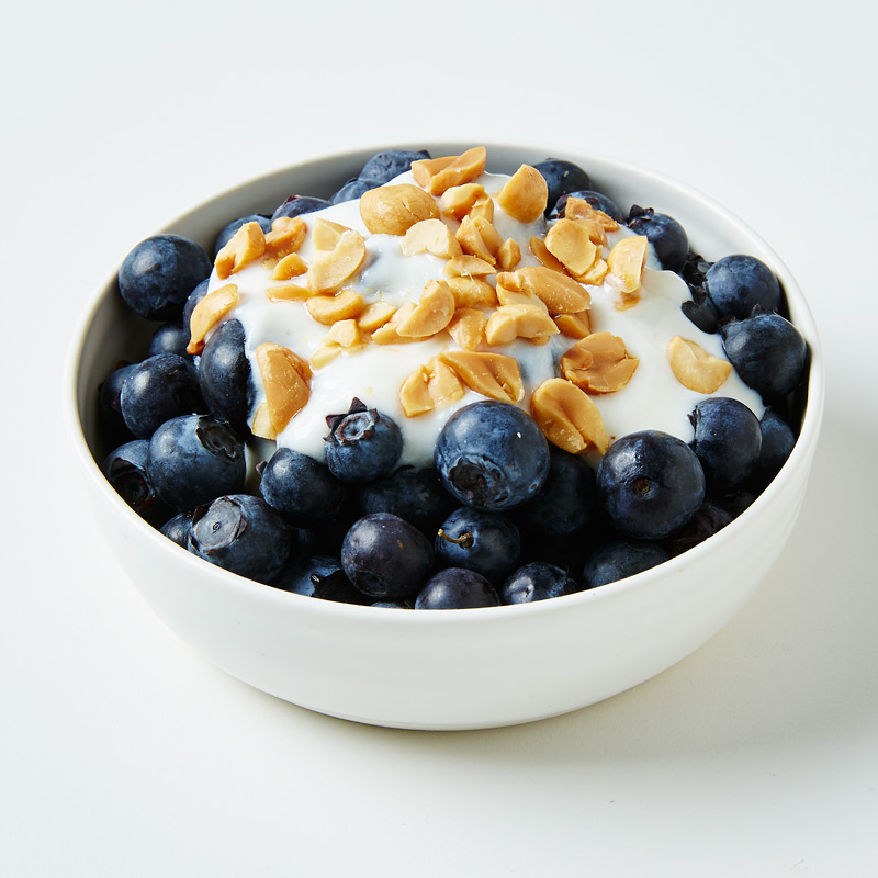 Peanutty Vanilla Yogurt with Blueberries #vanillayogurt Looking to make a great meal without cooking a ton? Our Peanutty Vanilla Yogurt with Blueberries recipe is perfectly portioned for one and simple to make. #vanillayogurt